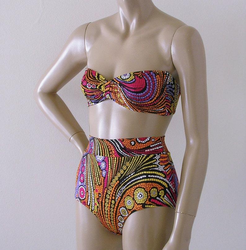 c10b9ebdda2c4 High Waisted Bikini Swimsuit Bottom and Retro Strapless | Etsy