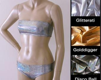 Strapless Bandeau Bikini Top and Brazilian Boy Short Bikini Bottom in Silver, Gold, Disco Ball Glitter Hologram in S.M.L.XL.