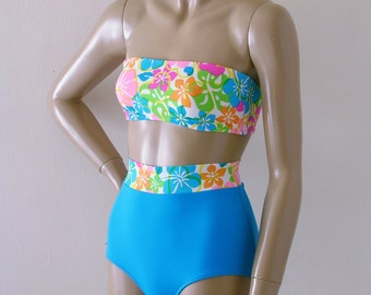 High Waisted Bikini Bottom and Strapless Bandeau Top Two Piece Swimsuit in Maui White Floral in S.M.L.XL