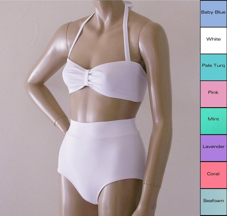 0463a5de42b18 High Waisted Bikini Bottom and Retro Bandeau Swimsuit in | Etsy