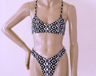 80s High Leg Bikini Bottom and Crossback Ballet Top in Black and White Aztec Print