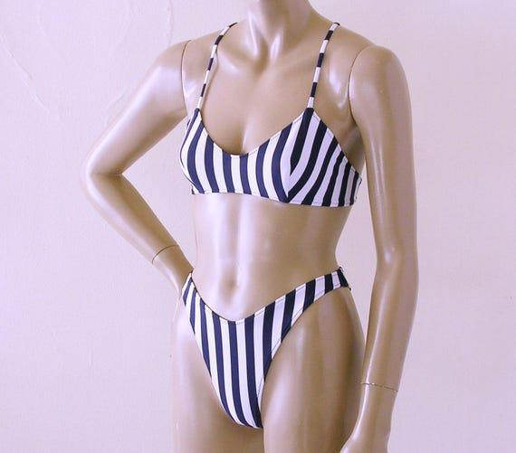 beabf95be0 80s 90s High Leg Brazilian Bikini Bottom and Crossback Ballet