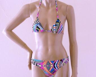 Brazilian Bikini Bottom and Triangle Bikini Top in Donnatella Print in Top Sizes to DD