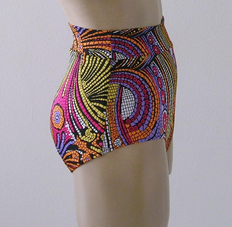 2ffe188fe7970 Retro High Waisted Bikini Bottom in Mosaic Paisley Print in | Etsy