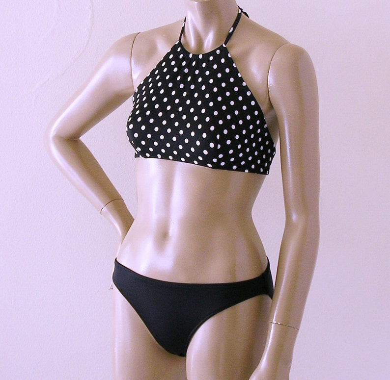High Neck Halter Bikini Top and Full Coverage Bikini Bottom Swimsuit in Black and White Polka Dot in S.M.L.XL