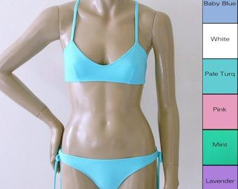 Brazilian Scrunch Back Bikini Bottom with Tie Sides and X-Back Ballet Bikini Top in White, Pink, Lavender, Mint Green, Blue, Turquoise
