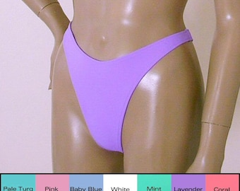 80s 90s Thong Bikini Bottom with High Leg in White, Pink, Lavender, Turquoise, Mint, Baby Blue, Coral, Nude, Gray in S M L XL