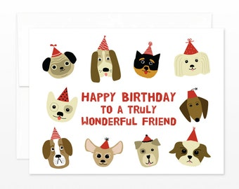 Cute Birthday Dog Friend Card