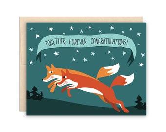 Fox Happy Anniversary Mr and Mea Fox card fox love card congratulations wedding anniversary card floral heart
