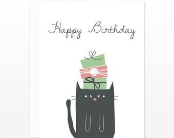 Funny Black Cat Birthday Card