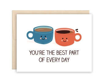 Cute Coffee Love Card, Cute Anniversary Card, Coffee Lover Card, Dating Relationship Card, Valentine Card, Coffee Lovers Card