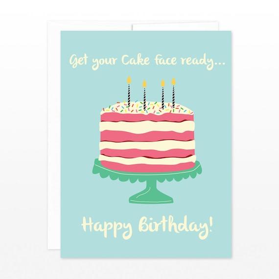 Funny Cake Birthday Card Cake Face Happy Birthday Greeting