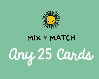 Mix and Match Any 25 Cards - Greeting Card Set, Card Sale, Any Occasion Cards, Birthday Card, Holiday Card Sale, Thanks, Mix & Match Set