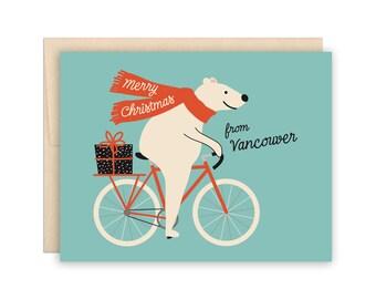 Vancouver Christmas Bear Holiday Card, Funny Polar Bear Biker Christmas Card, Cute Bear Bike Riding Christmas Card, Funny Biker Bear Card