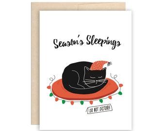 Funny Cat Christmas Card - Season's Sleepings Holiday Card, Do Not Disturb Xmas Card, Funny Cat Card