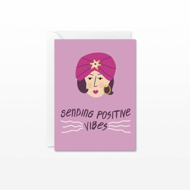 Sending Positive Vibes Mini Card - Gift Enclosure Card - Fortune Teller - Good Luck, Best Wishes, Get Well Card