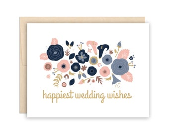 Floral Wedding, Congratulations - Garden Bouquet - Wedding Wishes Greeting Card, happy couple card, friend wedding card, family wedding card