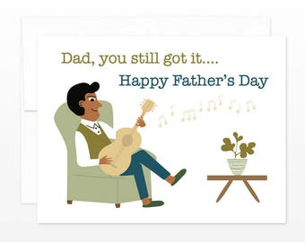 Hip Father's Day Card - Guitar Dad Greeting Card, Happy Father's Day Card, Card for Dad, Card for Father, Retro Dad, Hipster Dad, Musician