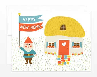 Gnome Happy New Home Card - Housewarming Greeting Card, Moving Card, Cute New House Card, New Apartment Card