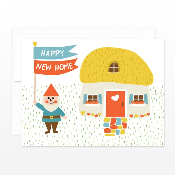 Gnome happy new home card housewarming greeting card moving etsy image 0 m4hsunfo