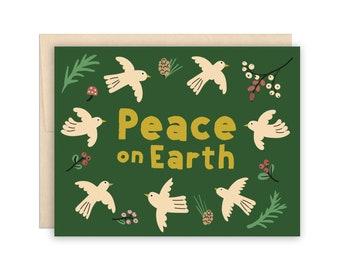 Peace on Earth Christmas Holiday Card, Birds, Doves, Christmas Card, Peace Card, Woodland Berries Flowers Birds