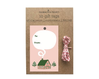 Pink Christmas Cabin Gift Tags Set - Cute Holiday Cottage, Christmas New Year Gift Tag, Festive Gift Tag Set with Twine, Cute Gift