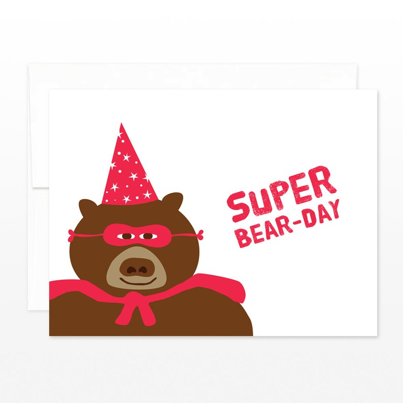 Funny Happy Birthday Card Super Hero Wizard Hat Bear