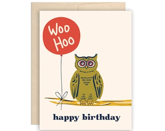 Birthday Owl Card, Cute Woo Hoo Owl Happy Birthday Card, Wise Owl Birthday, Red Balloon Birthday Greeting Card