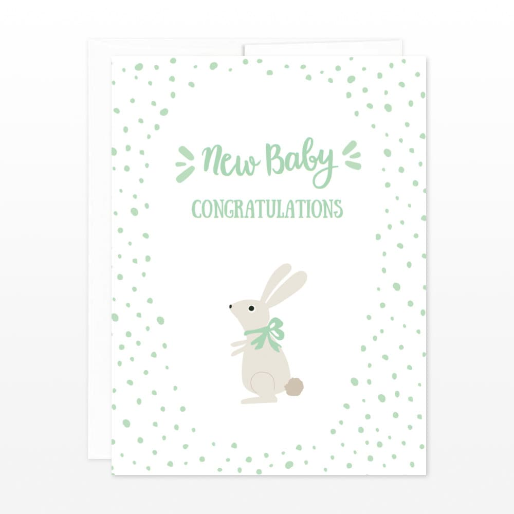 New Baby Bunny Congratulations Card Cute New Baby Greeting Etsy