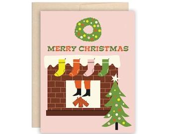 Funny Santa Fireplace Christmas Card, Funny Holiday Card, Merry Christmas Card, Retro Santa Card, Pink Holiday, Stockings, Wreath, Xmas Tree