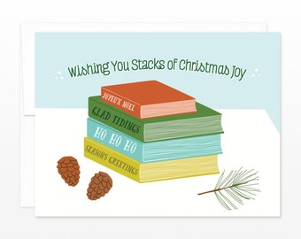 Book Lovers Book Worm Christmas Holiday Card - Stacks of Christmas Joy, card for teacher, card for librarian, stack of books