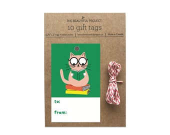 Cat Books Gift Tag Set of 10 with Twine - Cute Cat Reading Books, Bookworm Tags, Book Gift Tags, Party, Birthday, Celebration, Cute Gift