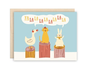 Barnyard Woodland Animals Singing Carolling Holiday Card - Cute Winter Card - Fa La La La La Holiday Christmas Card, Solstice Card, Funny