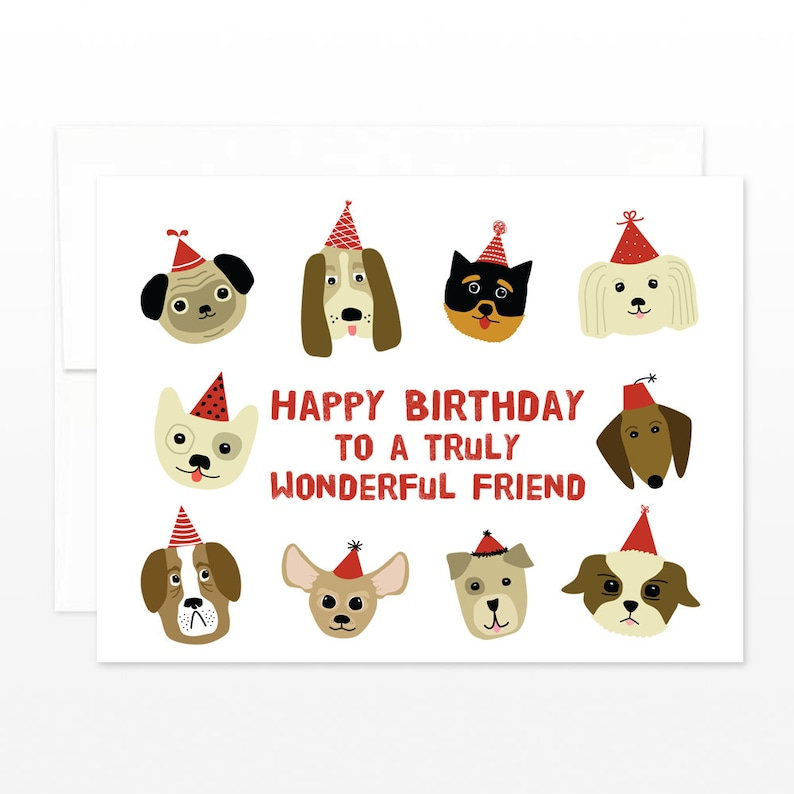 Cute Birthday Dog Friend Card Lover Happy To