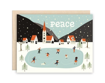 Peace Christmas Card, Cute Winter Village Holiday Greeting Card,  Winter Solstice Card, Card for Family, Card for Friends, Xmas Card