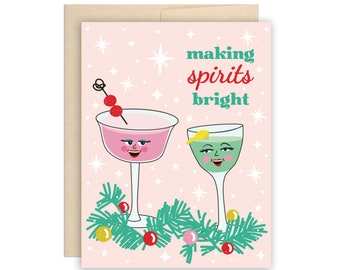 Funny Cocktail Retro Vintage Christmas Holiday Card, Funny Boozy Xmas Card, Funny Christmas card, Pink Retro Christmas Card, Boozy Drinks