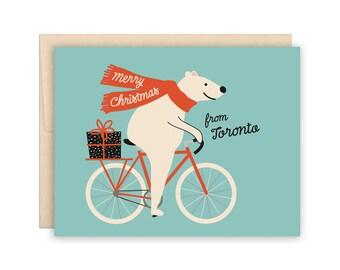Toronto Christmas Bear Holiday Card, Funny Polar Bear Biker Christmas Card, Cute Bear Bike Riding Christmas Card, Funny Biker Bear Card