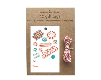 Christmas Candy Gift Tags Set - Cute Holiday Candy, Christmas New Year Gift Tag, Festive Gift Tag Set with Twine, Cute Gift, Merry Christmas