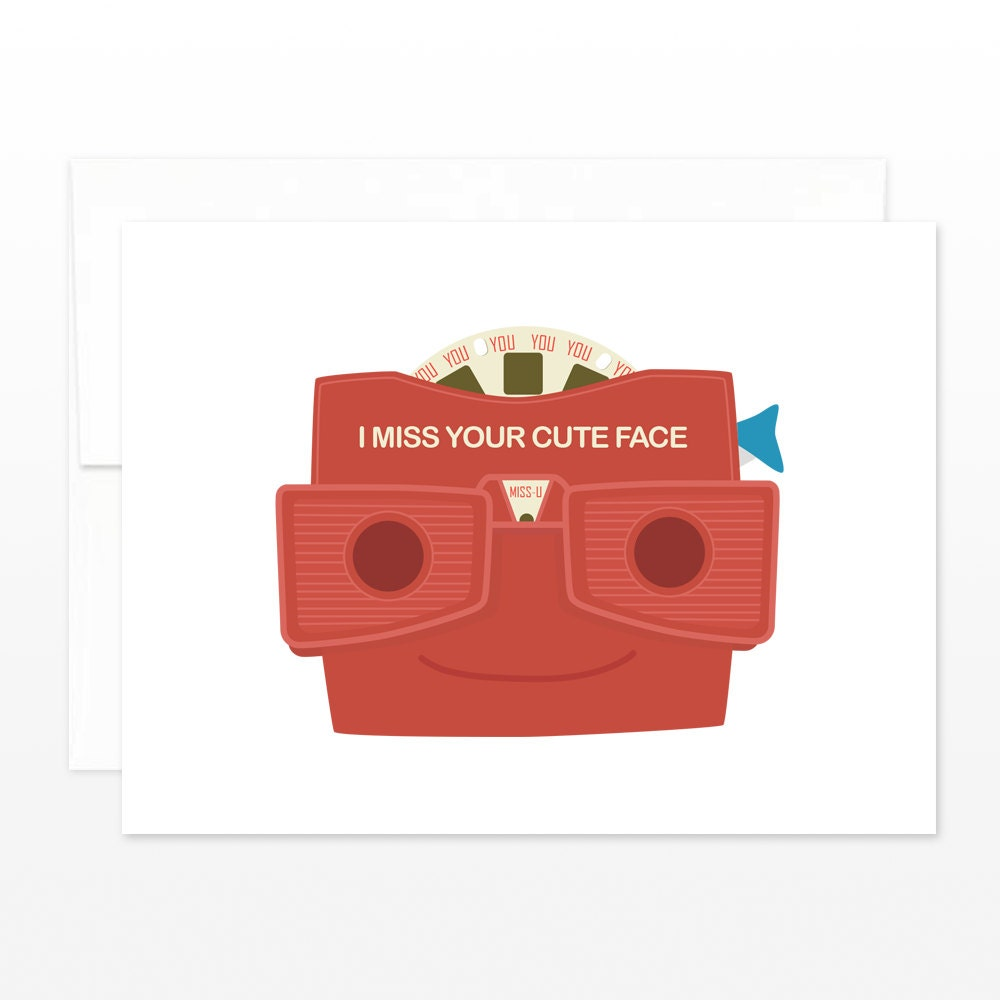 Retro I Miss You Card I Miss Your Cute Face Viewmaster Style Etsy