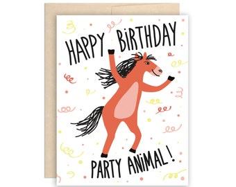 Party Animal Horse Happy Birthday Card - Funny Birthday Card, Party Horse