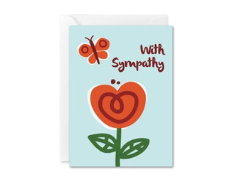 SALE With Sympathy Mini Card  Flower Enclosure Card Condolences Card Sympathy Greeting Card At Peace Grief Loss Card Simple With Compassion