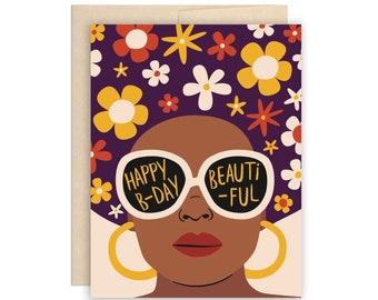 Flower Afro Beautiful Birthday Card, Girlfriend Birthday Card, Cool Girl Birthday, Happy Birthday Beautiful Card, BFF Birthday, Sunglasses
