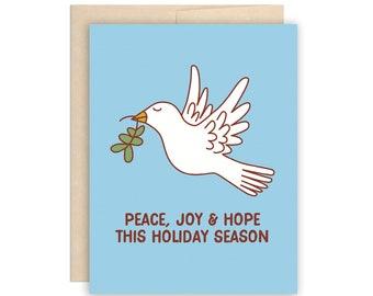 Peace Dove Christmas Holiday Card, Peace Joy Hope This Holiday Season Card