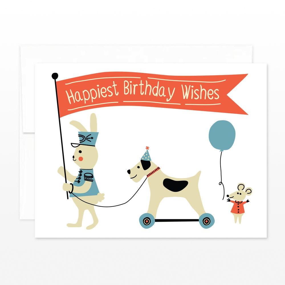 Sale Cute Child Birthday Card Vintage Toy Parade Birthday Etsy