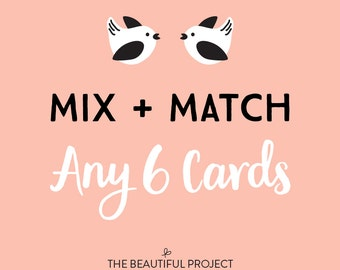 Mix and Match Any 6 Cards - Greeting Card Set, Card Sale, Any Occasion Cards, Birthday Card, Holiday Card Sale, Thanks, Mix & Match Set