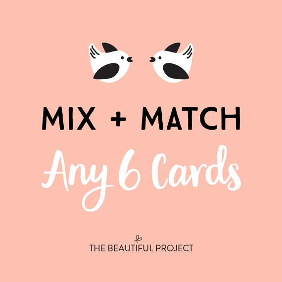 Mix and match any 6 cards greeting card set card sale any etsy image 0 m4hsunfo
