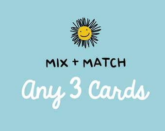 Mix and Match Any 3 Cards - Greeting Card Set, Card Sale, Any Occasion Cards, Birthday Card, Holiday Card Sale, Thanks, Mix & Match Card Set