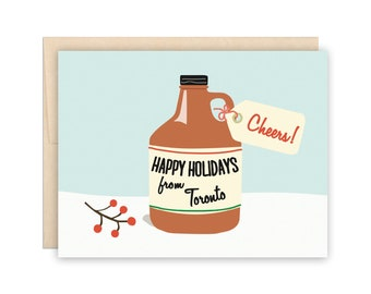 Toronto Holiday Beer Christmas Card - Cheers Growler! Happy Holidays from Toronto - Beer Lover, Craft Beer Card