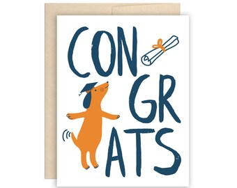 Funny Congrats Dog Diploma Graduation Card, Congratulations Grad Card, Dog Grad Card, Funny Grad Card, Modern Graduation Card, Illustrated