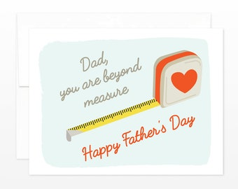 Dad You Are Beyond Measure Father's Day Card - Dad Greeting Card, Cute Pops Card, Handy Man Father's Day Card